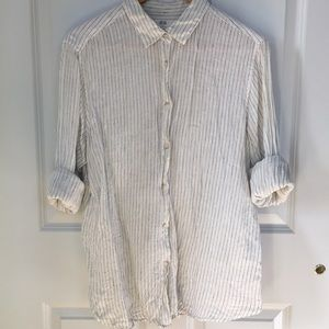 Pinstriped premium linen shirt from Uniqlo XL